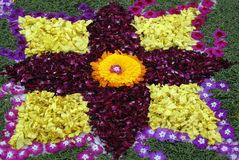 Rose petals rangoli decoration Ikebana Stock Photos