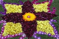 Rose petals rangoli decoration Ikebana Stock Photos