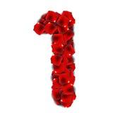 Rose Petals Realistic Number Vector-Illustratie Stock Illustratie