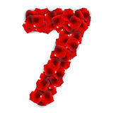 Rose Petals Realistic Number Vector-Illustratie Royalty-vrije Stock Afbeelding