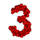 Rose Petals Realistic Number Vector Illustration Stock Image