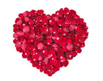Rose petals in a shape of a heart.  Stock Image
