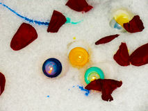 Rose petals. In the snow with color candles Royalty Free Stock Image