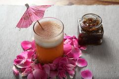 Rose Petals soft drink, Gulkand Sharbat royalty free stock photo