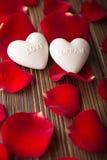Rose petals. Rose petals and stone hearts royalty free stock photos