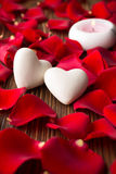 Rose petals. Rose petals and stone hearts stock photo