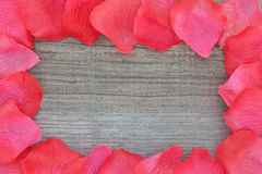 Rose petals on textured wood. Royalty Free Stock Photo