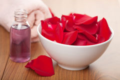 Rose petals and towel Stock Photography