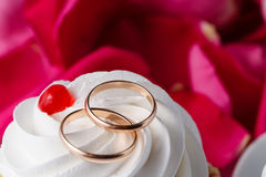 Rose petals and wedding rings Stock Photography