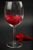 Rose petals in a wine glass Royalty Free Stock Photos