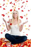 Rose Petals Woman Stock Photography
