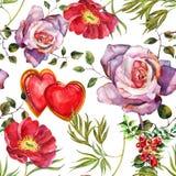 Rose, Pfingstrosenblumen winden, Herzaquarell, kopieren nahtloses Stockbilder