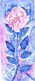 Rose. Pink rose with blue leaves.. At the bottom of my author's signature Stock Photo