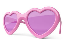 Rose pink colored glasses in a form heart. Happiness and love co Stock Photography