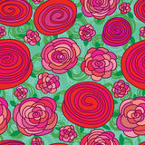 Rose pink drawing seamless pattern Stock Images