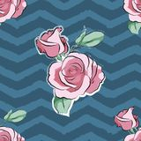 Rose pink flower hand drawn wave strips pattern royalty free illustration