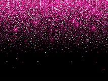 Rose pink gold glitter confetti sparkle background. Rose pink gold glitter on black background of vector confetti sparkle texture and light shine stock illustration