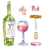 Rose (pink) wine bottle, wineglass, grapes, corkscrew, cork and stain, isolated set. Hand painted watercolor illustration, Rose (pink) wine bottle, wineglass Royalty Free Stock Images