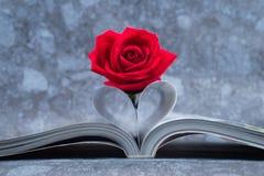 Rose a placé sur la page de livres qui est pliée dans une forme de coeur images libres de droits