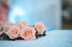 Rose placed on the desk stock images