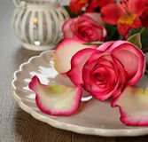 Rose on a plate Royalty Free Stock Photos