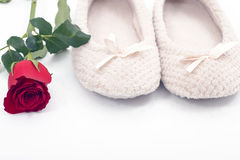 Rose and plush slippers on white Stock Photography