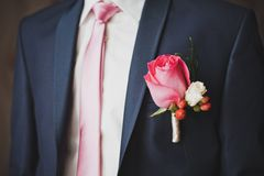 Rose in a pocket on a breast 2087. Royalty Free Stock Image