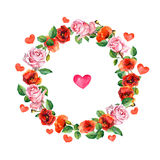 Rose and poppy flowers with heart in floral wreath. Watercolour circle border for wedding or Valentine day greeting card Stock Images