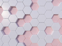 Rose Quartz  abstract 3d hexagon background bee hive Royalty Free Stock Photo