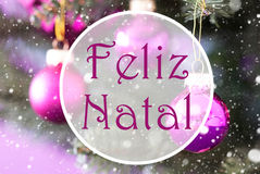 Rose Quartz Balls, Feliz Natal Means Merry Christmas Photos stock