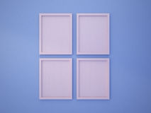 Rose Quartz blank frame on Serenity Blue color wall Stock Image