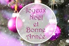 Rose Quartz Christmas Balls, Bonne Annee significa Año Nuevo Imagen de archivo libre de regalías