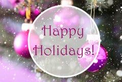 Rose Quartz Christmas Balls lyckliga ferier för text Royaltyfria Bilder