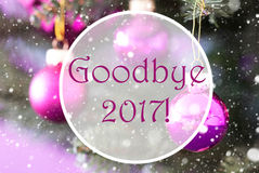 Rose Quartz Christmas Balls, Tekst vaarwel 2017 Stock Foto