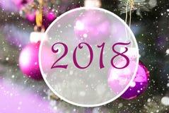 Rose Quartz Christmas Balls, Text 2018 Lizenzfreies Stockfoto