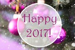 Rose Quartz Christmas Balls, Text glückliches 2017 Lizenzfreies Stockbild