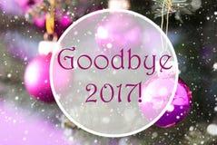 Rose Quartz Christmas Balls, texto adeus 2017 Foto de Stock