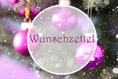 Rose Quartz Christmas Balls, Wunschzettel Means Wish List. Christmas Tree With Rose Quartz Balls. Close Up Or Macro View. Christmas Card For Seasons Greetings Stock Photos