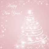Rose Quartz colored winter hoiliday background with Christmas tree Stock Photos