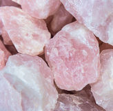 Rose quartz. Heap of rose quartz close-up Stock Images