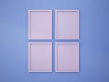 Rose Quartz löschen Rahmen auf blauer Wand der Ruhe Farb Stockbild