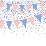 Rose quartz and serenity bunting background with confetti. Royalty Free Stock Photo