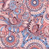Rose Quartz and Serenity trendy colors of the year 2016 in the seamless pattern. Zentangle or doodle style ornament with mandalas and floral elements. For vector illustration