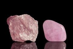 Rose quartz, uncut and Tumble finishing stock image