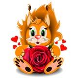 Rose réaliste de rouge d'écureuil affectueux de jouet Photo libre de droits
