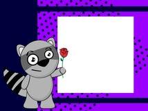 Rose raccoon emotion frame background Royalty Free Stock Photo