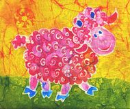 Rose ram. Image of my artwork with a rose ram on a yellow background Royalty Free Stock Photo