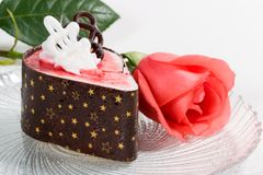 Rose and raspberry souffle cake Royalty Free Stock Photo