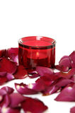 Rose and red candle Royalty Free Stock Image