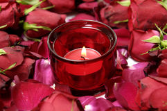Rose and red candle Stock Images
